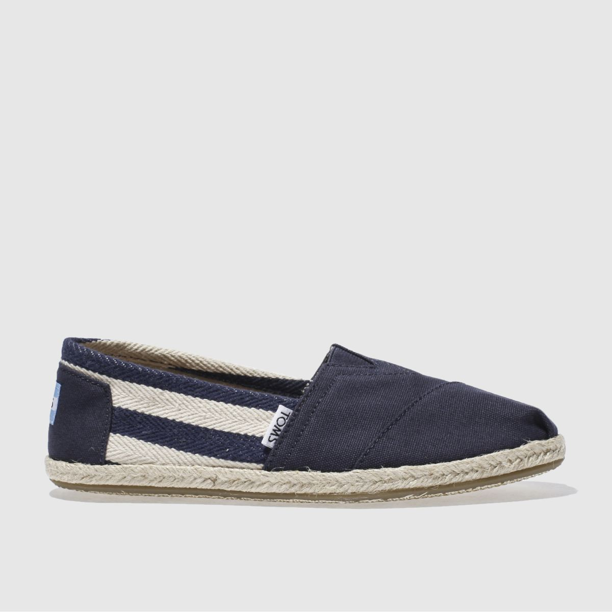 toms navy university classic stripe flat shoes
