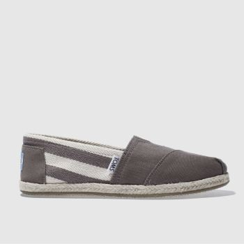 Womens Toms Grey University Classic Stripe Flats
