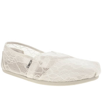 Toms White Classic Seasonal Lace Flats