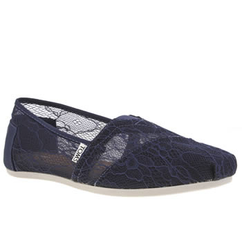Womens Toms Navy Classic Seasonal Lace Flats