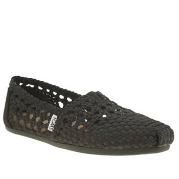 Toms Black Classic Seasonal Satin Woven Flats