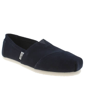 Toms Navy Classic Slip Suede Flats