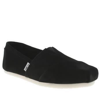 Womens Toms Black Classic Slip Suede Flats