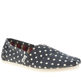 Toms Navy Classic Seasonal Polka Dot Womens Flats