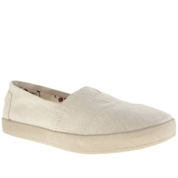 Toms White Avalon Linen Womens Flats