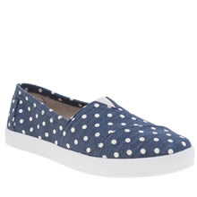 Toms Navy & White Avalon Polka Dot Linen Womens Flats