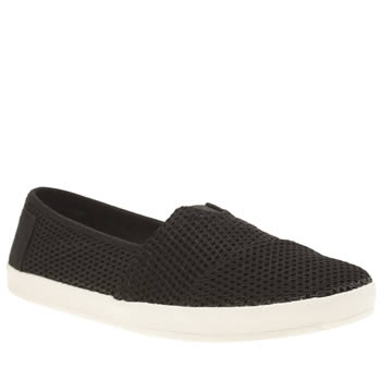 Toms Black & White Avalon Mesh Womens Flats