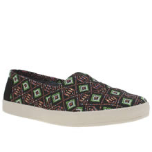 Toms Black & Green Avalon Womens Flats