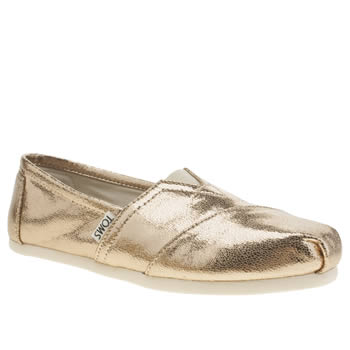 Toms Gold Classic Shine Metallic Womens Flats
