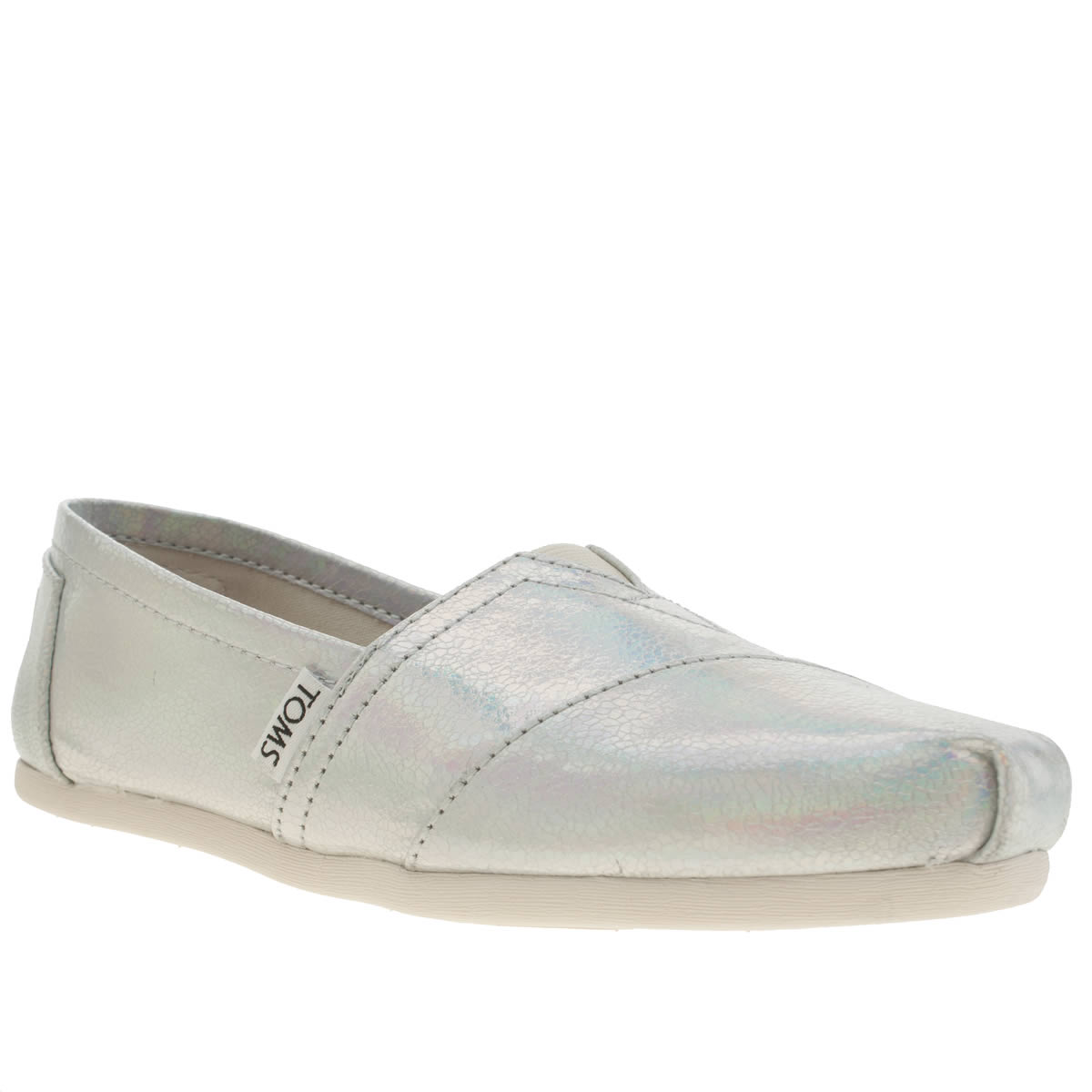 toms silver classic shine metallic flat shoes