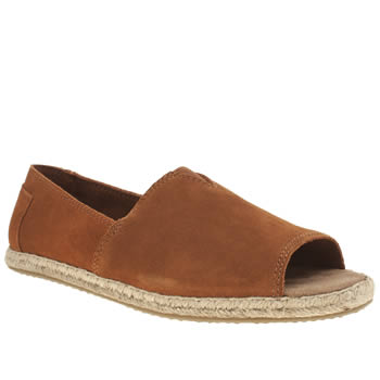 Toms Tan Alpargata Open Toe Womens Flats