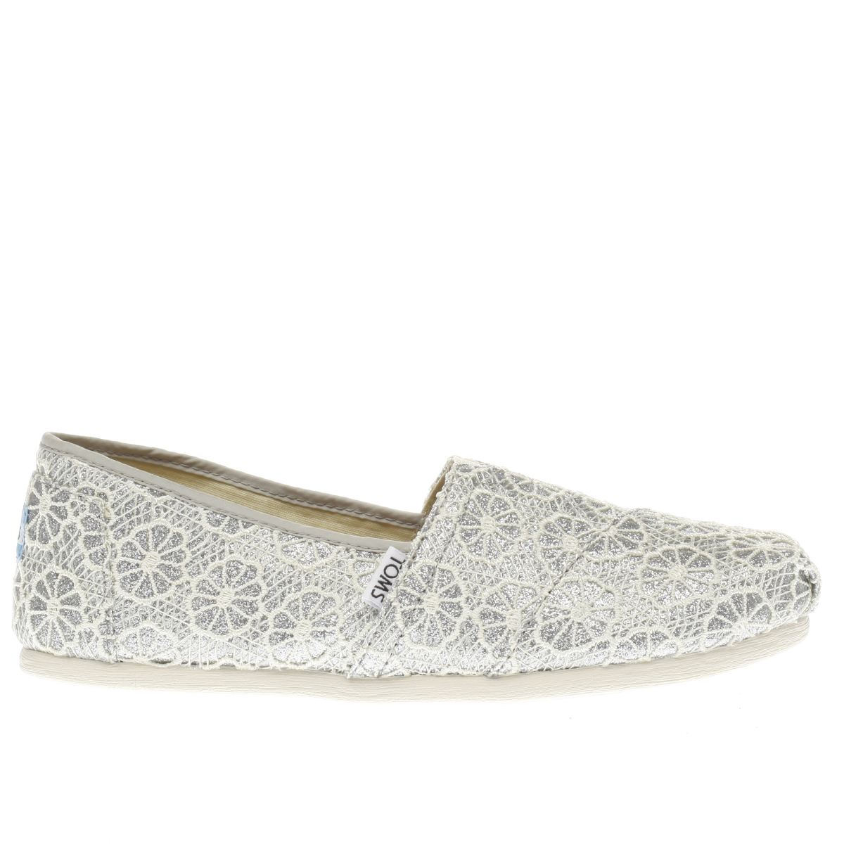 toms silver crochet glitter flat shoes