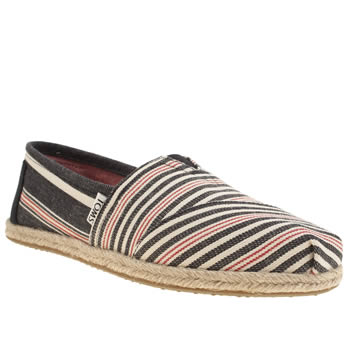 Toms Navy & White Classic Rope Sole Stripe Flats