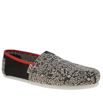 TOMS BLACK & WHITE CLASSIC KEITH HARING FLAT SHOES