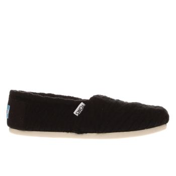 Toms Black Classic Cable Knit Womens Flats
