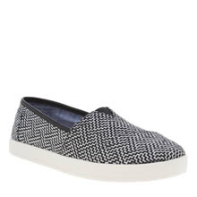 Toms Black & White Avalon Geometric Womens Flats