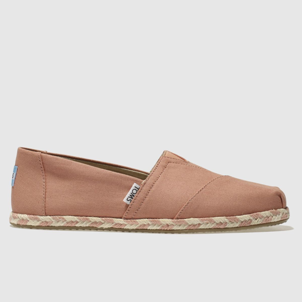 Toms Pale Pink Classic Slip Rope Sole Flat Shoes