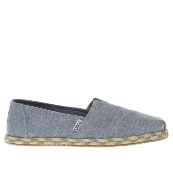 TOMS BLUE CLASSIC SLIP ROPE SOLE FLAT SHOES