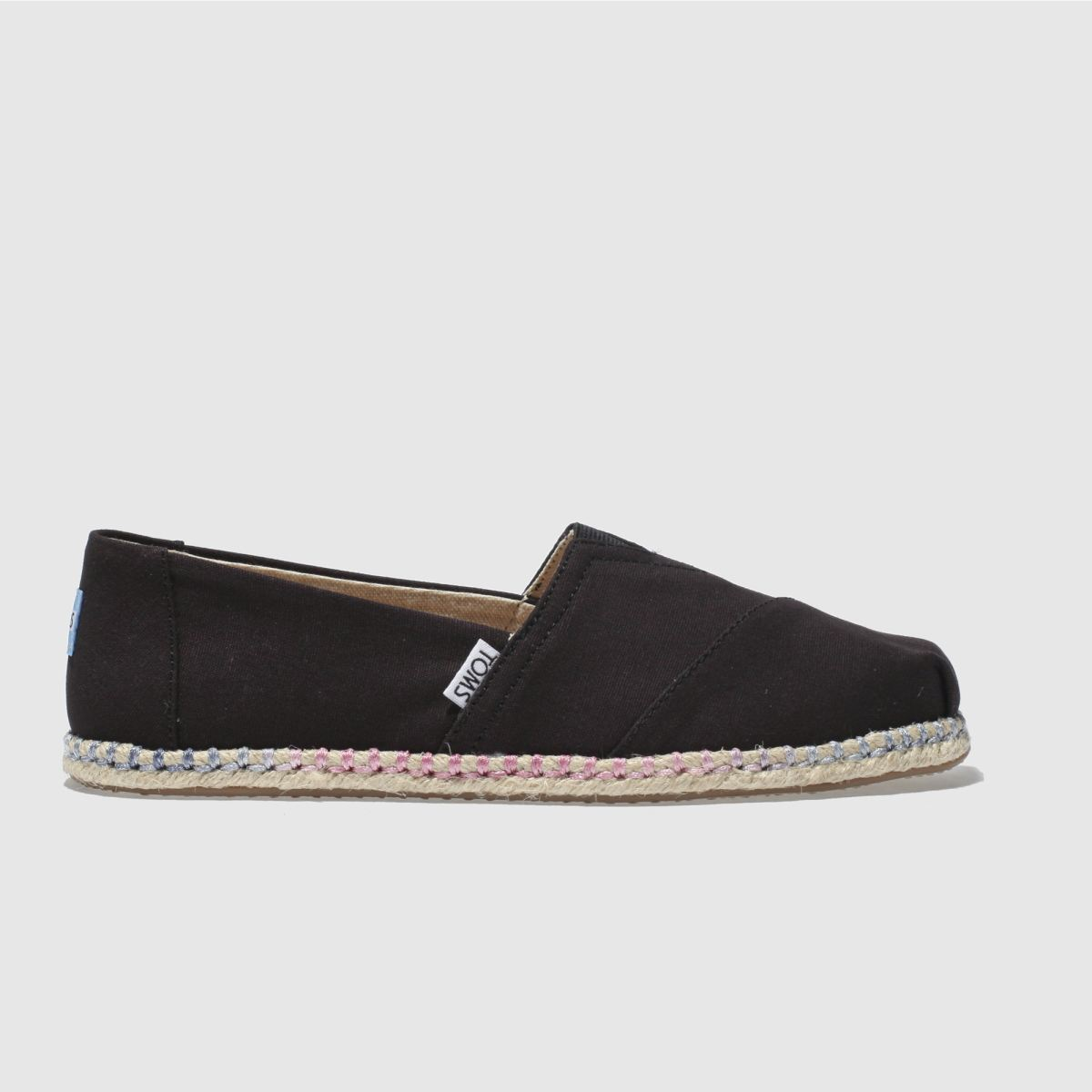 Toms Black Classic Slip Rope Sole Flat Shoes