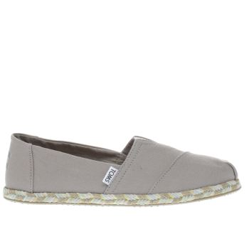 Toms Grey Classic Slip Rope Sole Womens Flats