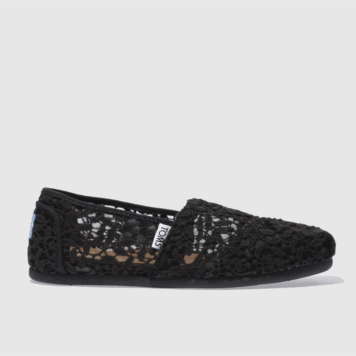 toms black classic slip lace leaves flat shoes