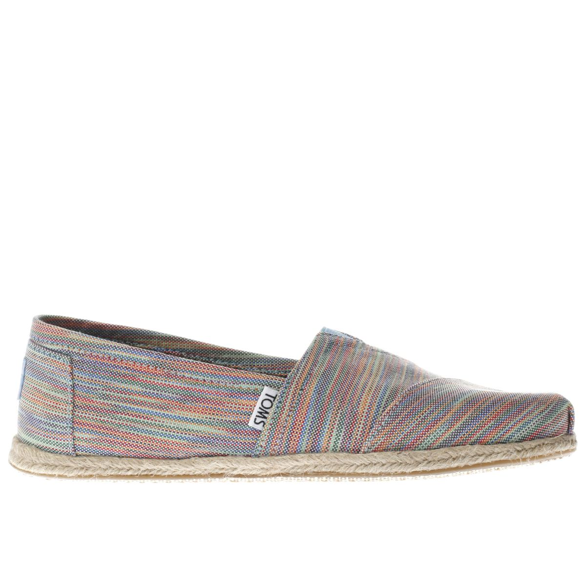 toms pink & green alpargata space dye flat shoes