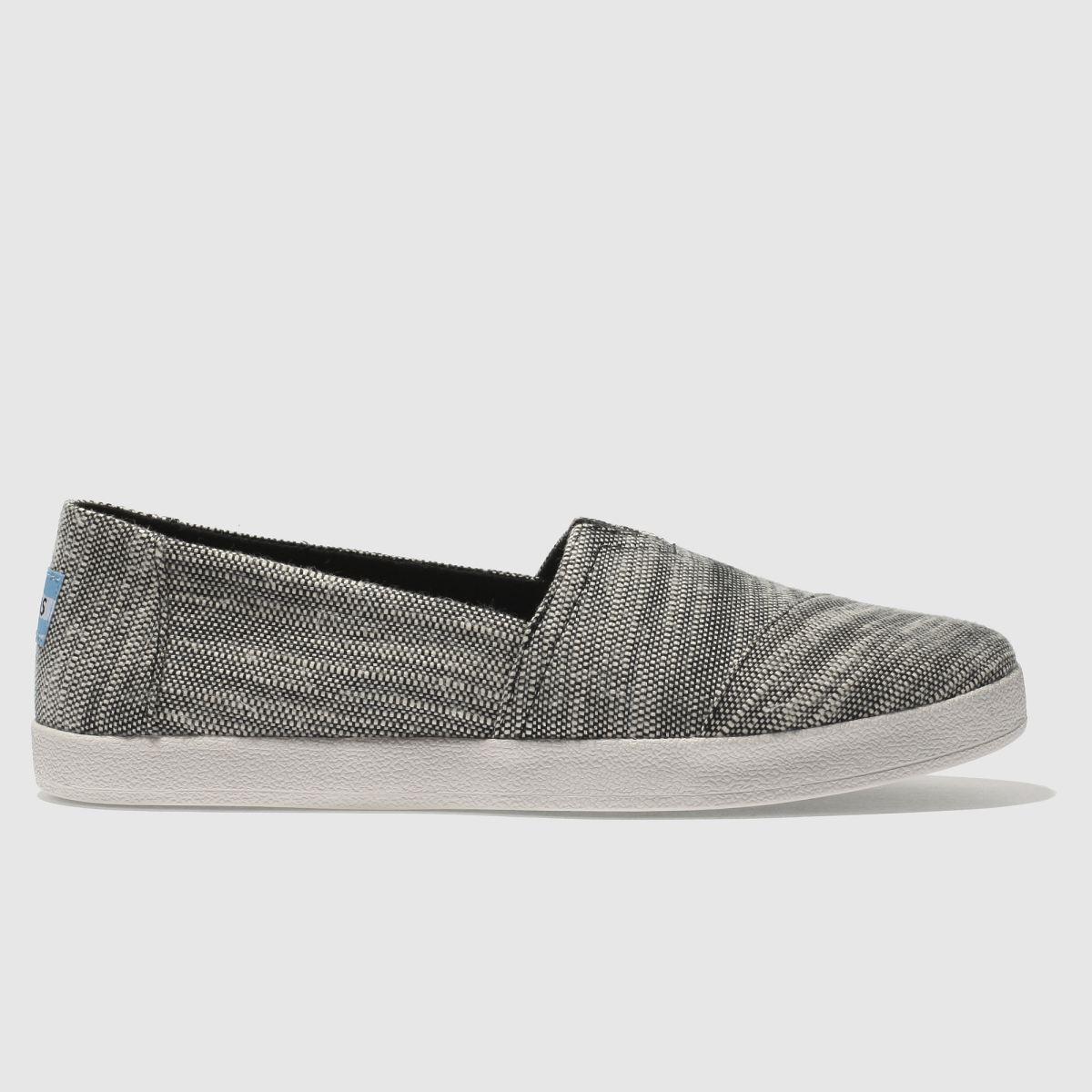 Toms Black & White Avalon Flat Shoes