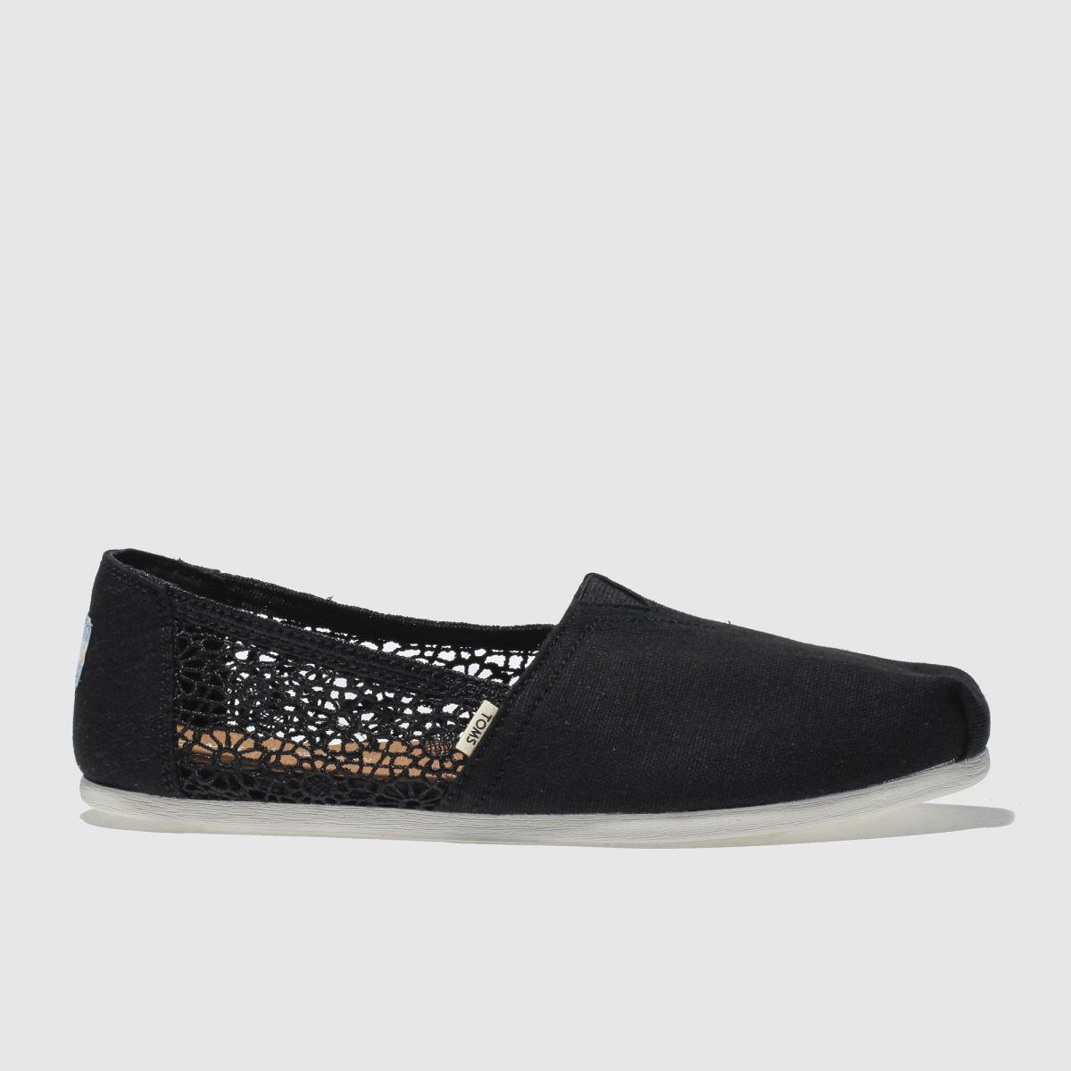 Toms Black Classic Hemp Crochet Flat Shoes