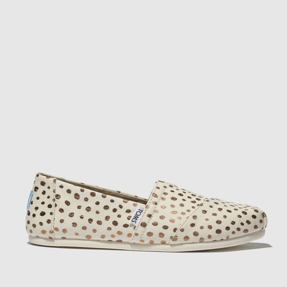 Toms White & Gold Alpargata Flat Shoes