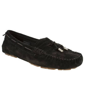 womens ugg australia black roni perf flat shoes