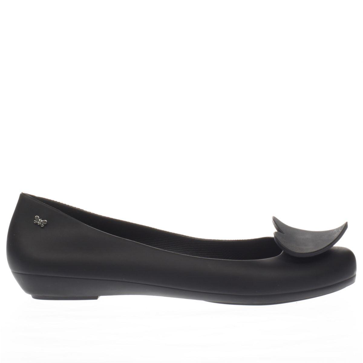 zaxy black pop heart flat shoes