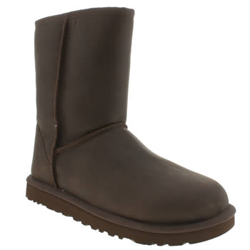 Womens Ugg Australia Dark Brown Classic Short Leather Boots