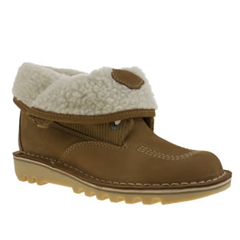 Womens Kickers Tan Fold Shearling Boots