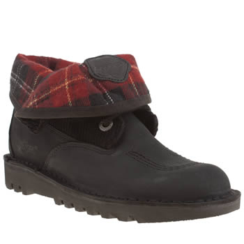 Womens Kickers Black & Red Fold Plaid Boots