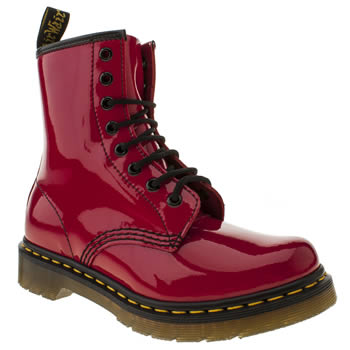 womens dr martens red 8 tie boots