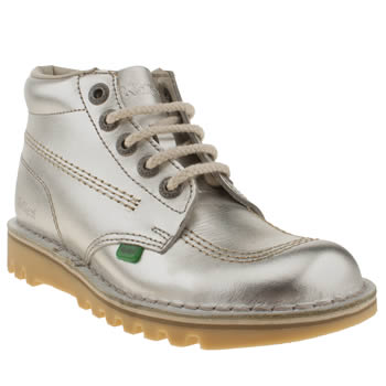 womens kickers silver kick hi ii metallic boots