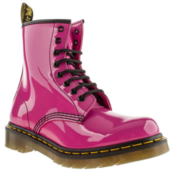 Womens Dr Martens Pink 8 Eye Patent Boot Boots