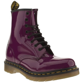 womens dr martens purple 8 eye patent boot boots