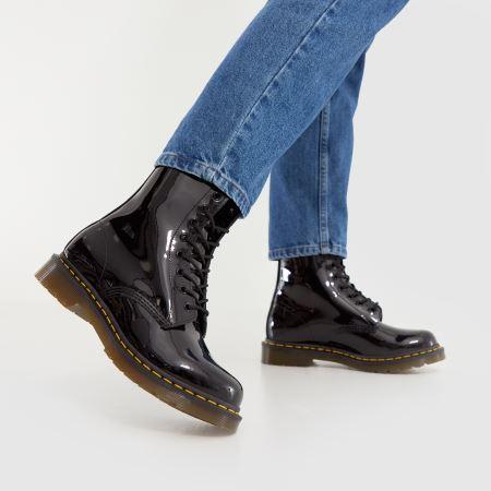 Women\'s Black Dr Martens 8 Eye Patent Boots | schuh
