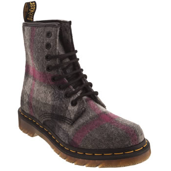 womens dr martens dark grey 8 eye mohair check boots