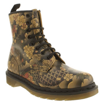 Womens Dr Martens Black & Brown 8 Eye Tattoo Sleeve Boots