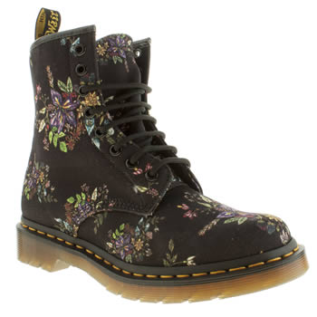 Womens Dr Martens Black & Purple Castel 8 Eye Floral Boots