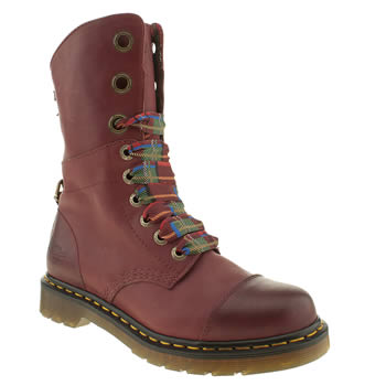 Womens Dr Martens Red Triumph Aimilita 9 Eye Boots