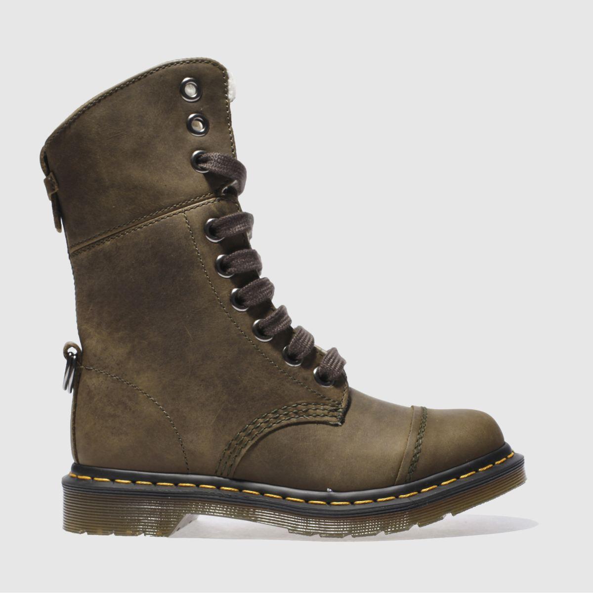 dr martens khaki triumph aimilita 9 eye boots