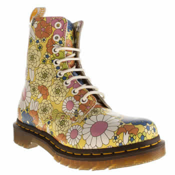 Dr Martens Yellow Pascal 8 Eye Vintage Daisy Boots