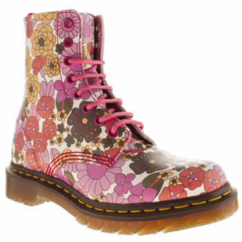 Dr Martens White & Pink Pascal 8 Eye Vintage Daisy Boots