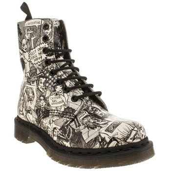 Womens Dr Martens Black & White Pascal 8-eye Party People Boots