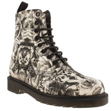 Black & Grey Dr Martens Beckett 8 Eye Skull
