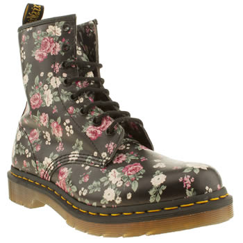 Womens Dr Martens Black & pink 8 Eye Vintage Rose Boots