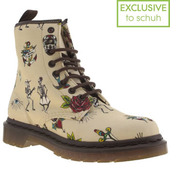 womens dr martens stone 8 eye tattoo boots
